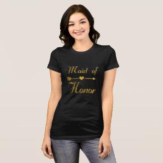 Wedding Bridal Shower Bachelorette Gold Maid Honor T-Shirt
