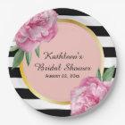 Wedding Bridal Shower Black Stripes Floral Glam Paper Plate