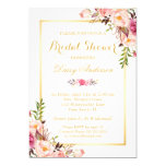 Wedding Bridal Shower Chic Floral Golden Frame 13 Cm X 18 Cm Invitation Card