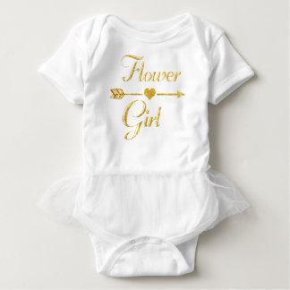 Wedding Bridal Shower Glitter Gold Flower Girl Baby Bodysuit