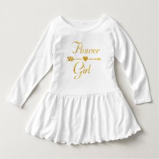 Wedding Bridal Shower Glitter Gold Flower Girl Dress