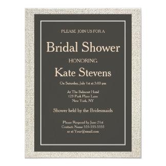 Wedding Bridal Shower linen Invitation Card