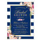 Wedding Bridal Shower | Navy Blue Stripes Floral Card