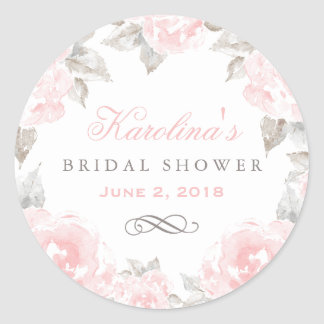 Wedding Bridal Shower | Pink Watercolor Roses Round Sticker