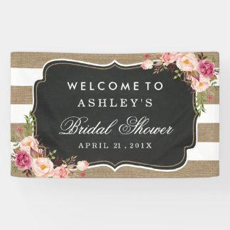 Wedding Bridal Shower Rustic Burlap Stripes Floral Banner