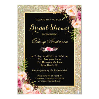 Wedding Bridal Shower Shiny Gold Sparkles Floral Card