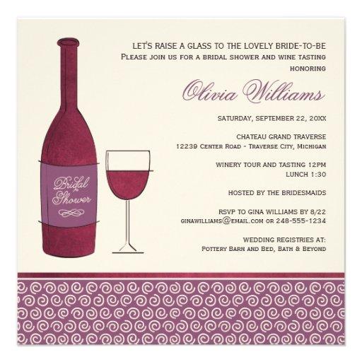 Wedding Bridal Shower | Wine Event Theme Personalized Invitation