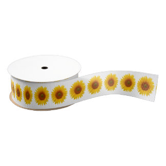 Wedding Bridal Shower Yellow Sunflower Flower Grosgrain Ribbon