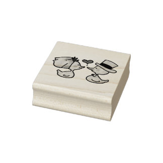 wedding bride and groom ducks rubber stamp