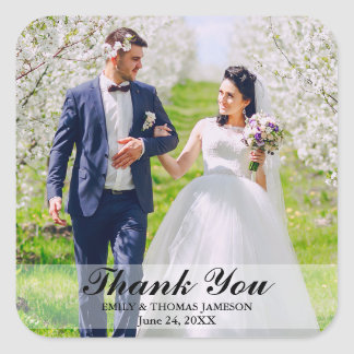 Wedding Bride and Groom Photo Thank You Stickers S