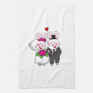 wedding bride and groom tea towel
