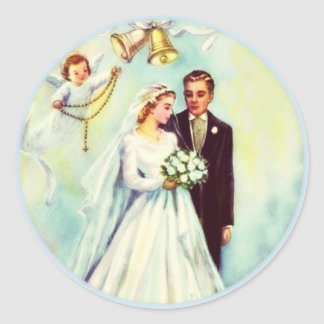 Wedding Bride Groom Angel Rosary Bells Classic Round Sticker