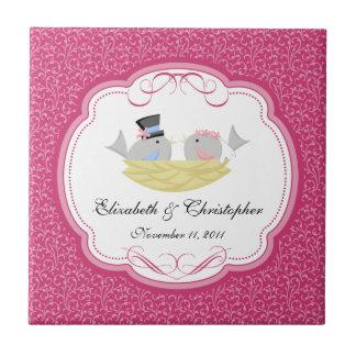 Wedding Bride Groom Birds Keepsake Tiles Pink