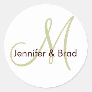 Wedding Bride Groom Green Brown Monogram Sticker