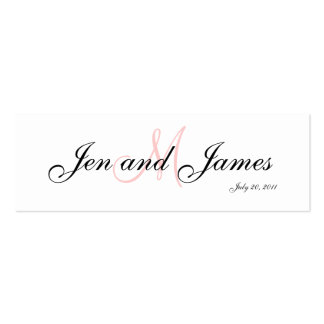 Wedding Bride Groom  Monogram Pink Profile Card Pack Of Skinny Business Cards