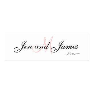 Wedding Bride Groom  Monogram Pink Profile Card Pack Of Skinny Business Cards