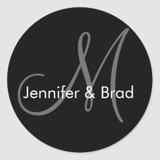 Wedding Bride Groom Names Monogram Sticker