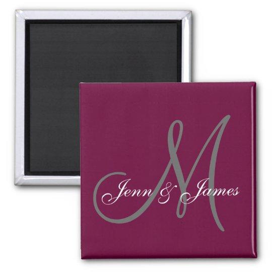 Wedding Bride Groom Names Monogram Wine Magnet