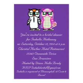 "Wedding Bride & Groom Owl Bridal Shower Invitation 5.5"" X 7.5"" Invitation Card"