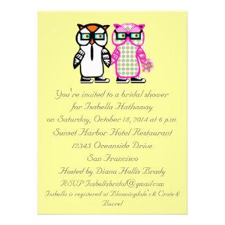Wedding Bride Groom Owl Bridal Shower Invitation