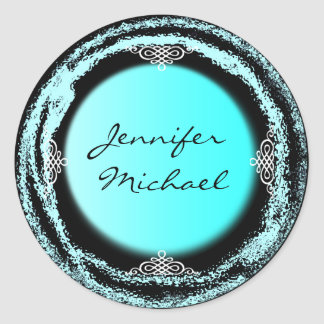 Wedding Bride Groom Turquoise Sticker Foil