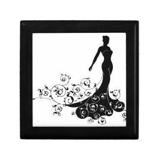 Wedding Bride Silhouette Design Small Square Gift Box