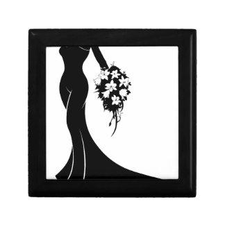 Wedding Bride Silhouette Small Square Gift Box
