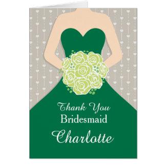 Wedding bridesmaid green dress thank you card