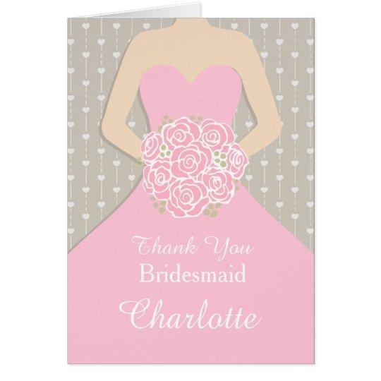 Wedding bridesmaid pink dress thank you card