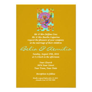 Wedding - Cactus Flower Serenade Day Dead Skeleton Invite