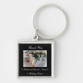Wedding Cake and Lantern Silver-Colored Square Key Ring