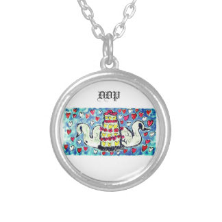 Wedding cake art two silver plated necklace
