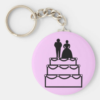 Wedding Cake Basic Round Button Key Ring