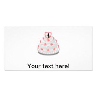 Wedding cake cartoon custom photo card