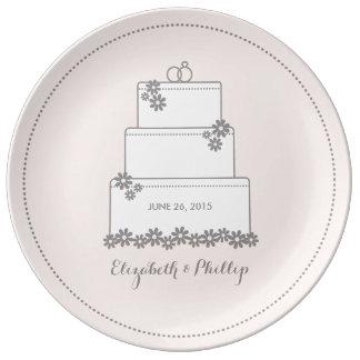 Wedding Cake Decorative Gift Plate - Pink
