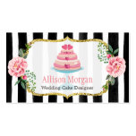 Wedding Cake Design Gold Pink Floral Striped Pack Of Standard Business Cards