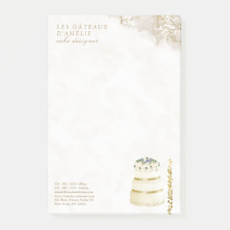 Wedding Cake Designer Bakery Gold Marble Post-it Notes