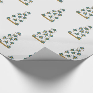 Wedding Cake in Teal and Gold on White Wrapping Paper