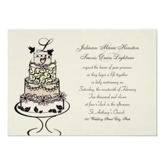 Wedding Cake Monogram / Wedding 13 Cm X 18 Cm Invitation Card
