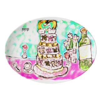 wedding cake porcelain serving platter