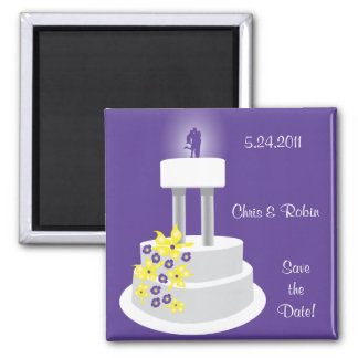 Wedding Cake Purple Topper Save the Date Magnet