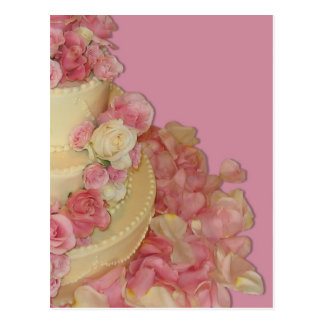 Wedding Cake & Roses Postcard