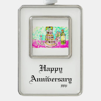 wedding cake silver plated framed ornament