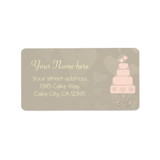 Wedding cake with hearts and flowers design address label