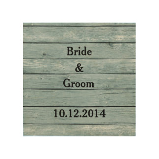 Wedding Canvas Bride and Groom with Wedding Date Wood Canvas