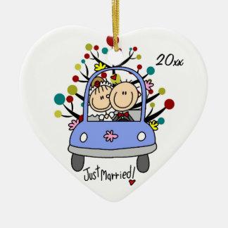 Wedding Car 1st Christmas Dated Heart Ornament