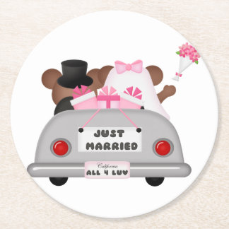 Wedding Car couple-Just married Round Paper Coaster