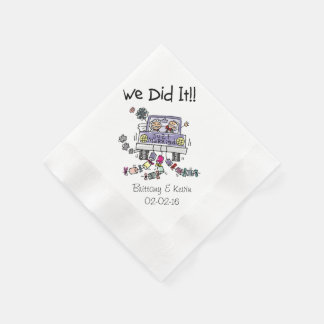 Wedding Car We Did It Personalized Paper  Napkins Disposable Napkins