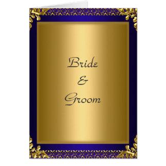 Wedding Card Invitation Gold Royal Blue