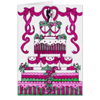 Wedding Card - Pink and Green